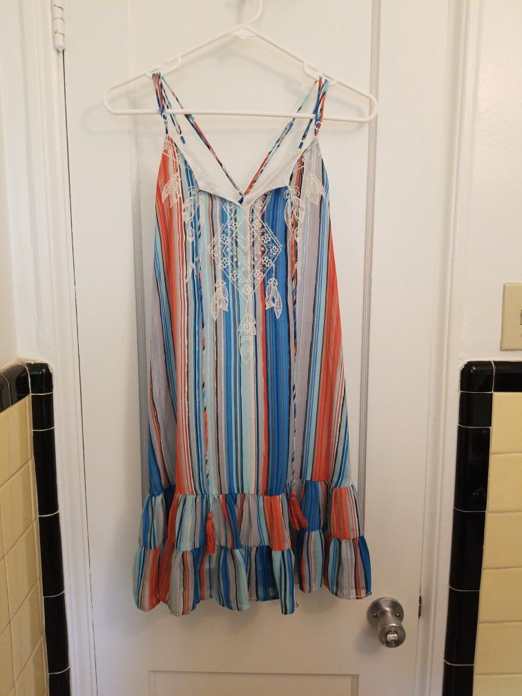 Chelsea & Violet Blue, Orange and White Striped Blouse