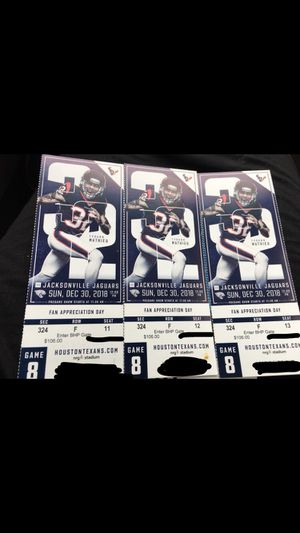 Texans vs Jacksonville Jaguars 3 game tickets & Parking Pass for Sale in Houston, TX
