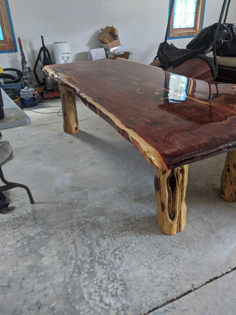 Homemade cedar dining table