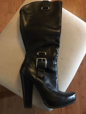 Black Knee High Leather Boots Size 6 for Sale in Washington, DC