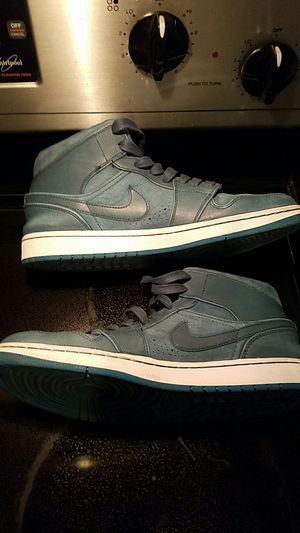 Limited Edition Nike Mid Air Jordan 1 Nouveau Suede Aqua Teal Turquoise Nightshade Retro 1985 Basketball Shoes Men's Size 10 for Sale in Scottsdale, AZ