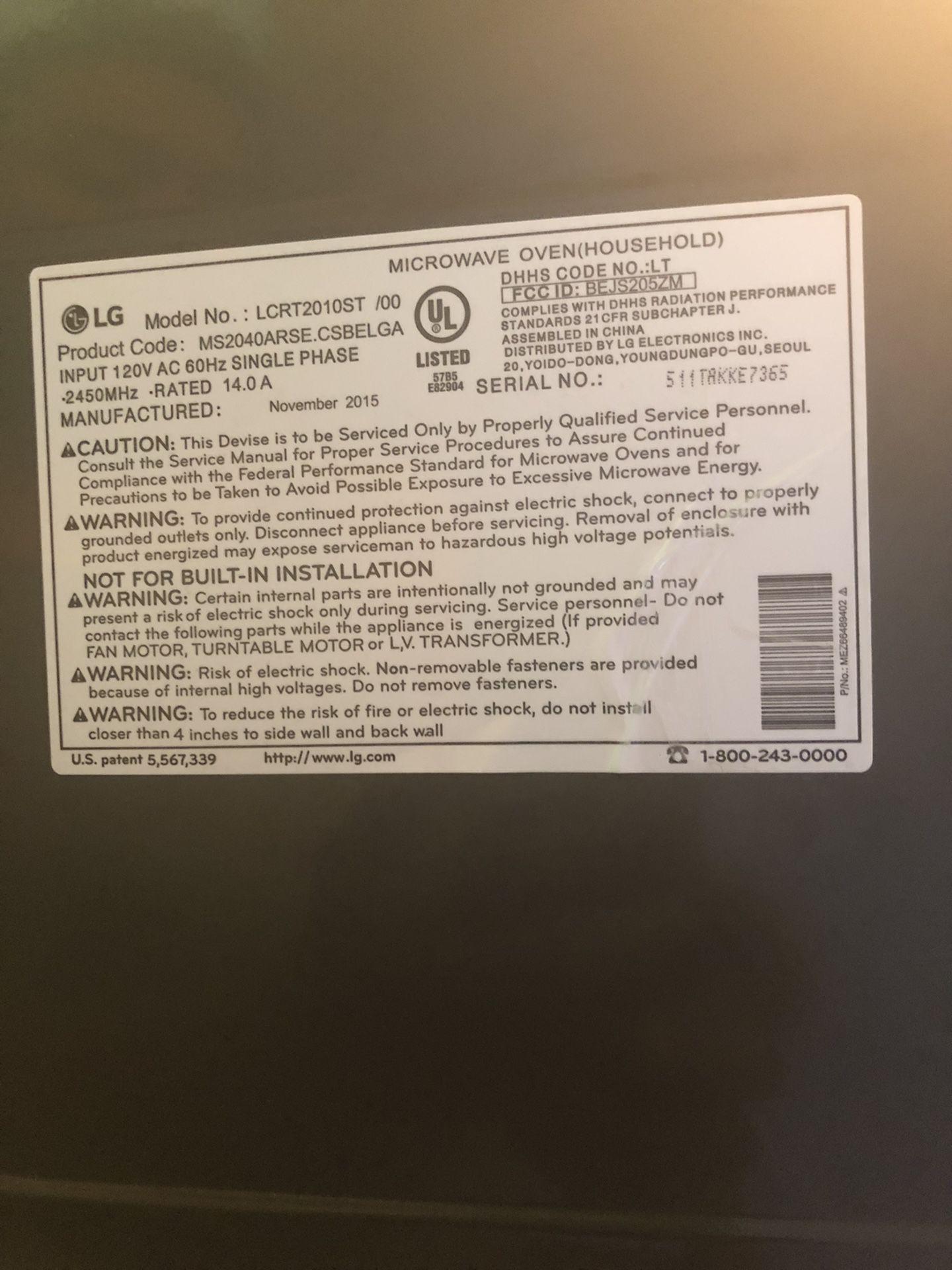 LG Microwave Stainless Steel 1,200 Watts.