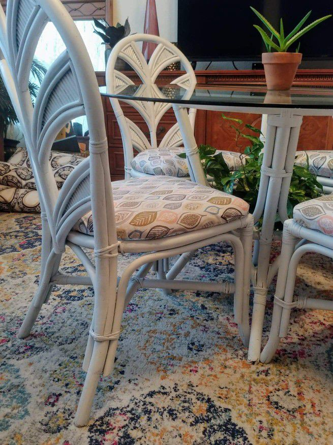Vintage Bamboo Table and Chairs