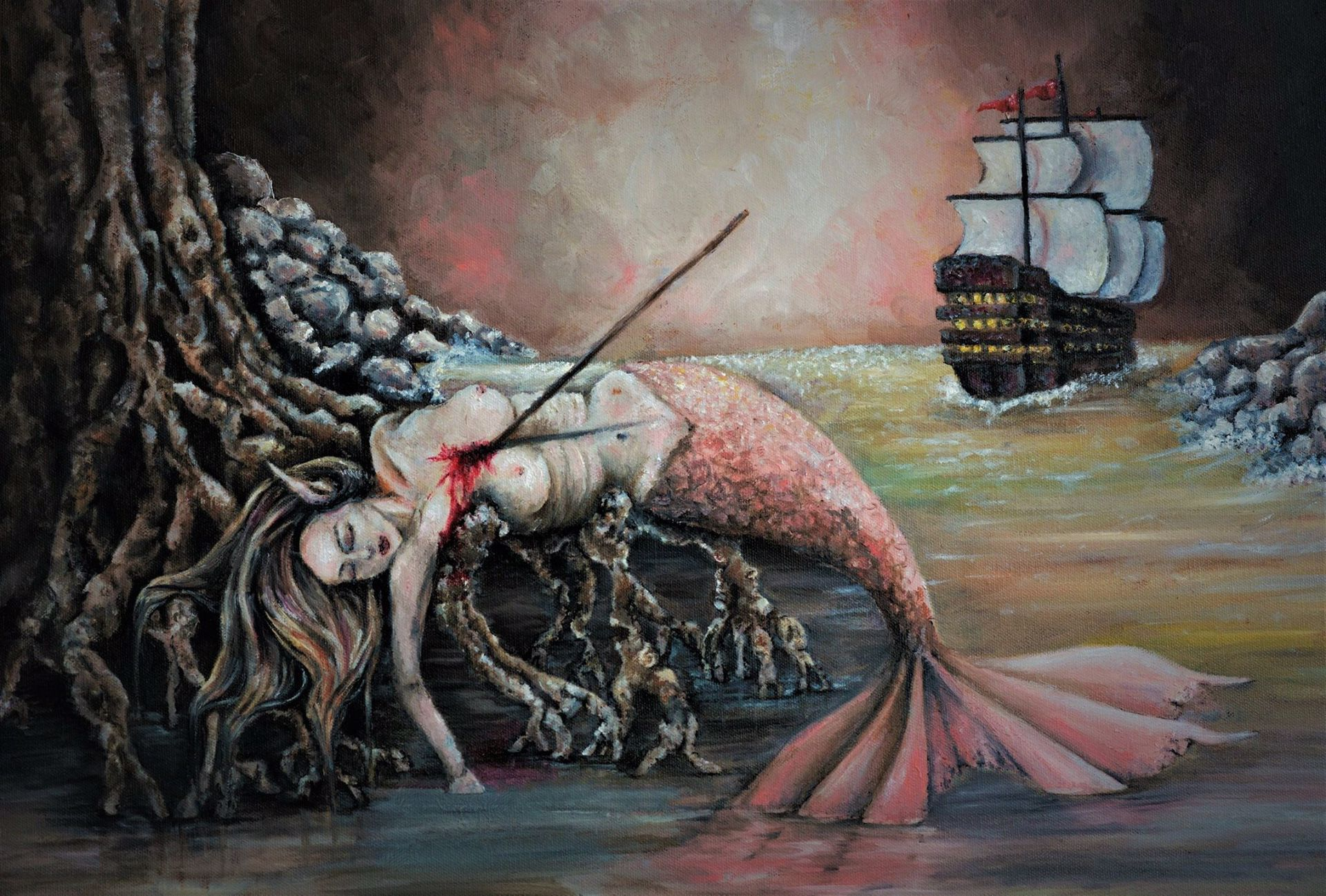 Original Mermaid Oil Painting 18 x 24 With Custom Wood Frame