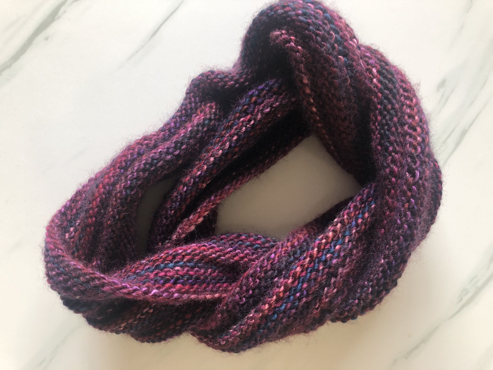 Dark Purple and pink knitted scarf