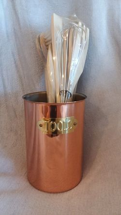 New In Box- Old Dutch Copper Tool Utensil Caddy Thumbnail