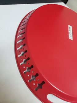 Red Ikea Oval Handled Metal Tray Thumbnail