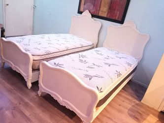 White Two Twin Beds With Mattress With Platform spring Thumbnail