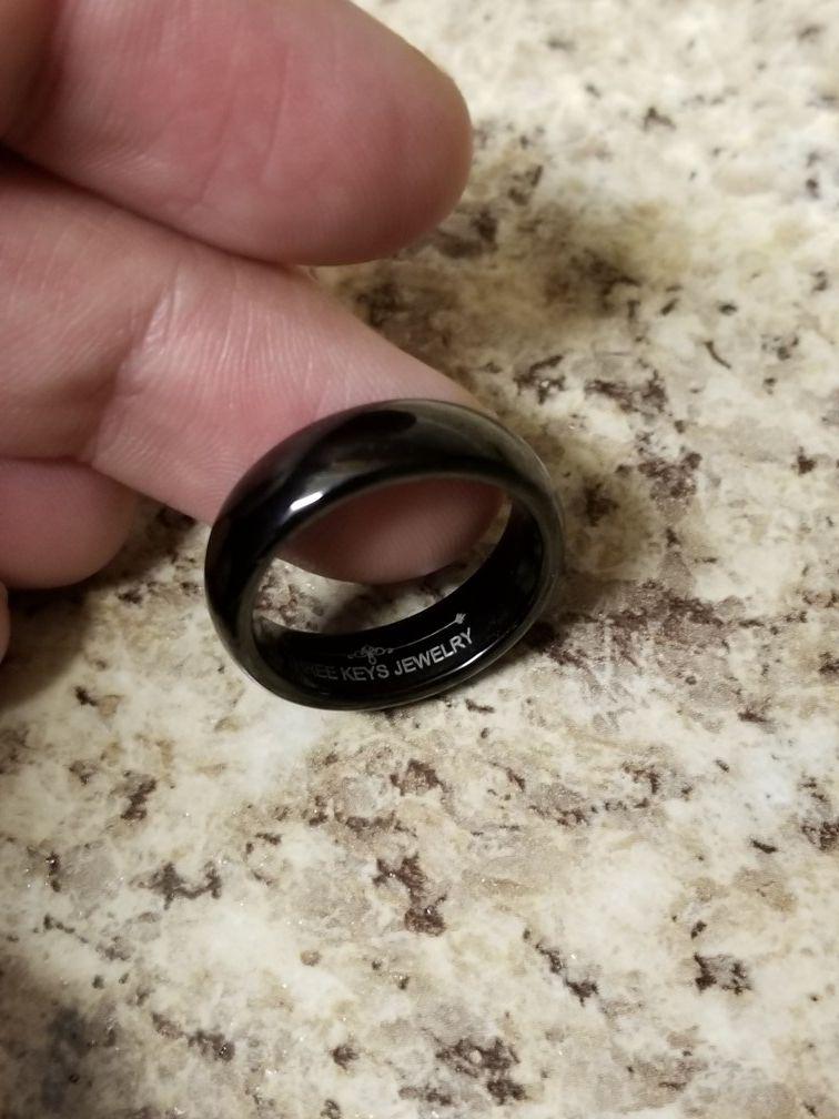 Tungsten carbide 6mm black high polish ring size 7