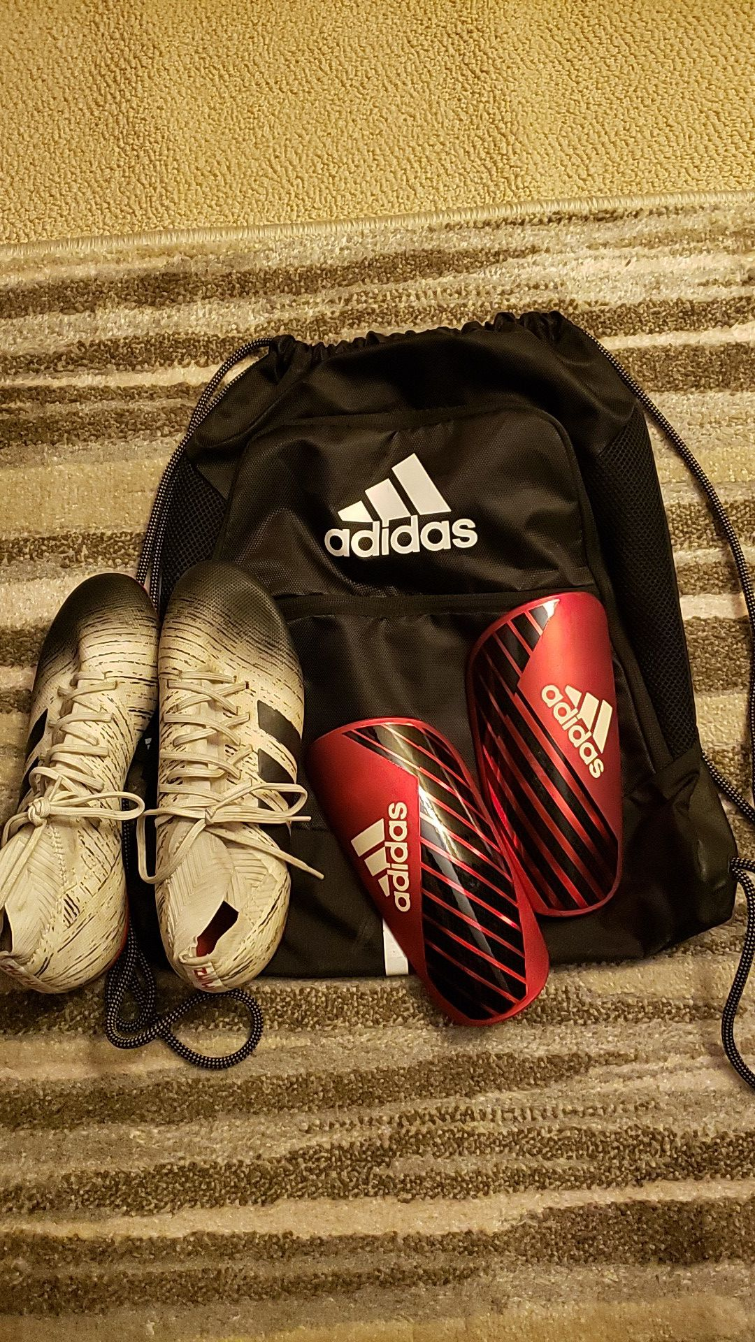 Soccer Shoes, Bag and Shin Guards