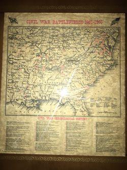 Map from civil war battlefields ( 1861- 1865 ) Thumbnail