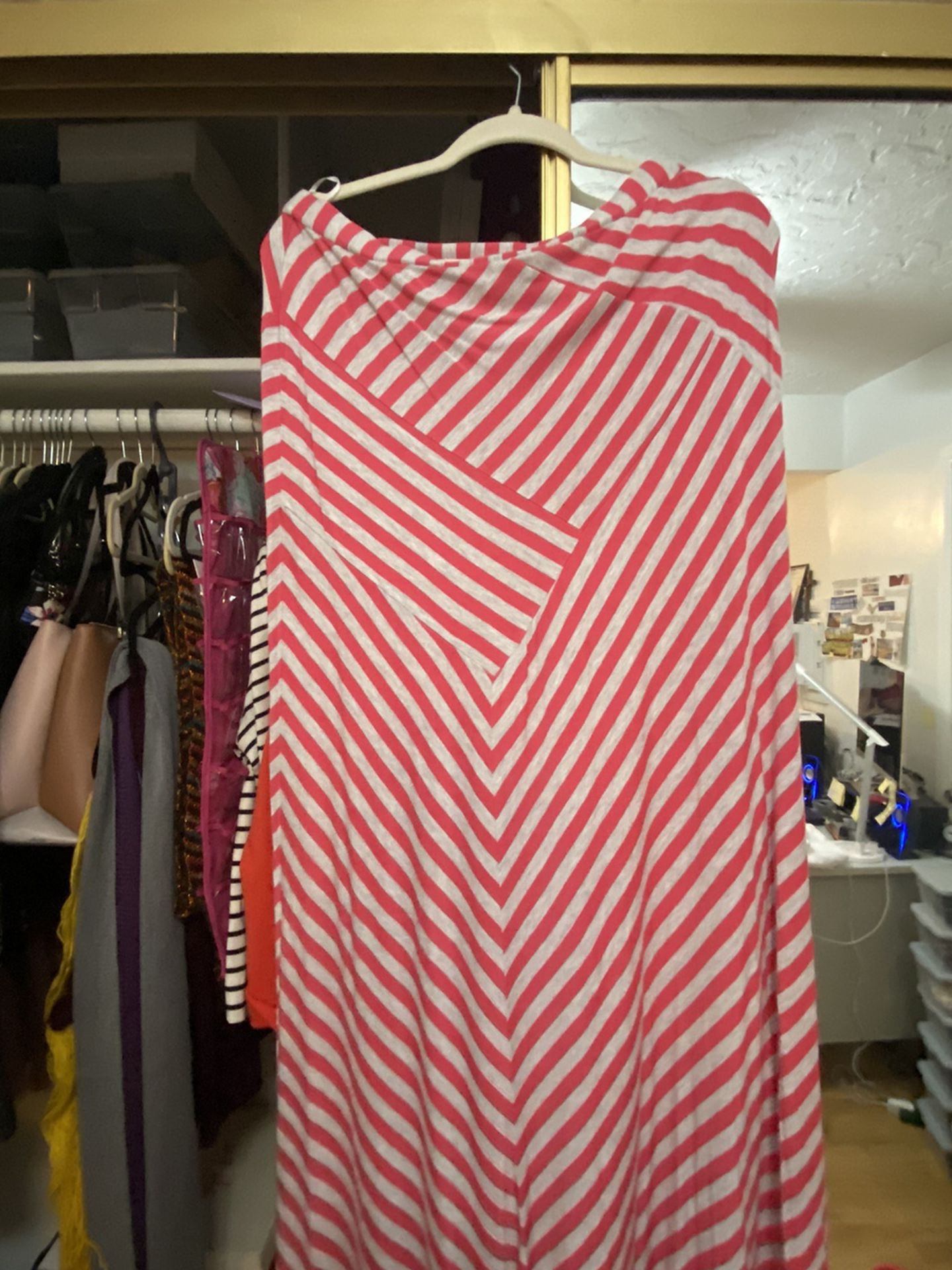 Chevron Long Skirt Pink With Gray