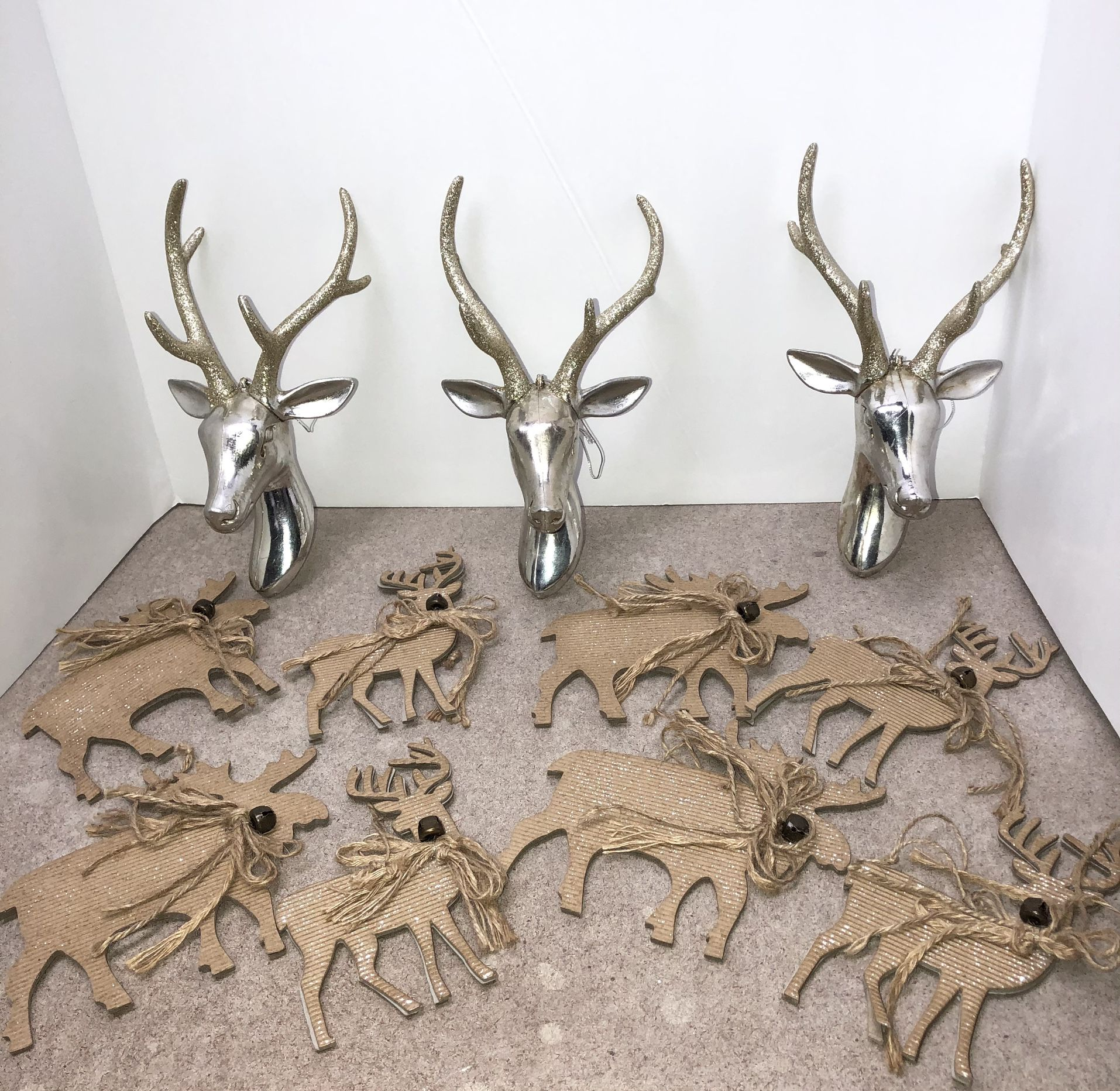 """3 7"""" gold/silver glitter deer, 4 4"""" thin wood w/bells, and 4 4"""" moose Christmas ornaments"""