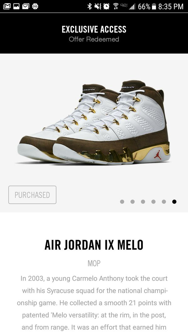 low priced a19ac ce4cd Air Jordan 9 Melo Size 10.5 for Sale in Snohomish, WA - OfferUp