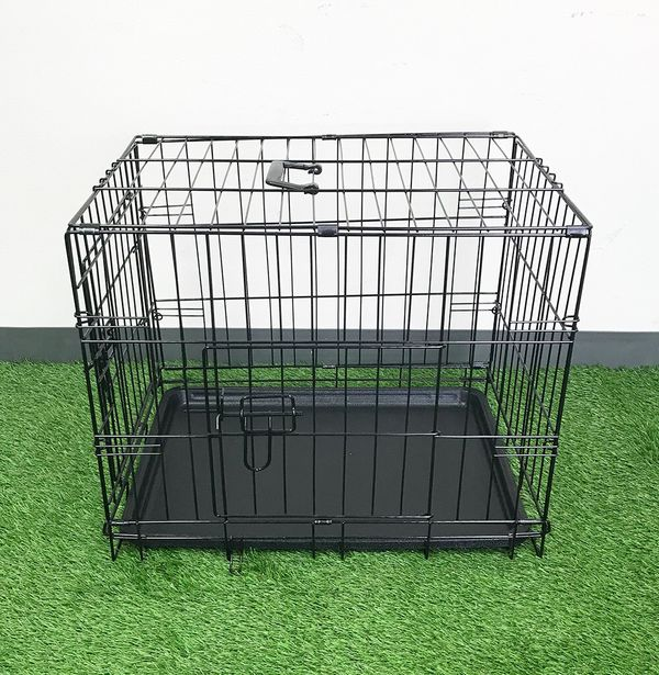 New 25 Folding 24 Dog Cage 2 Door Folding Pet Crate Kennel W Tray