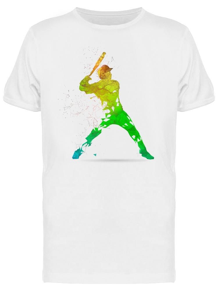 Smartprints Green Fading Baseball Player Tee Men's -Image by Shutterstock White Size XL