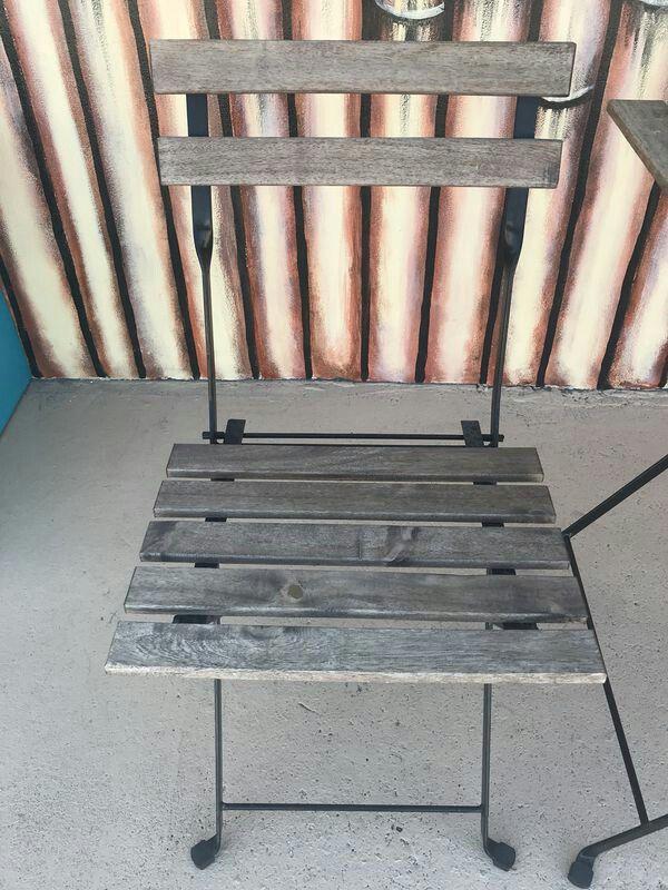 3 piece folding wood bistro set outdoor patio set furniture in