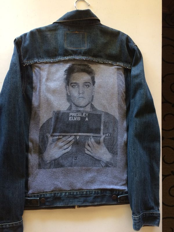 56d323aff Custom blue denim jacket, Levi, men's size medium, Elvis, hand beaded,  jacket jewelry for Sale in Oceanside, CA - OfferUp