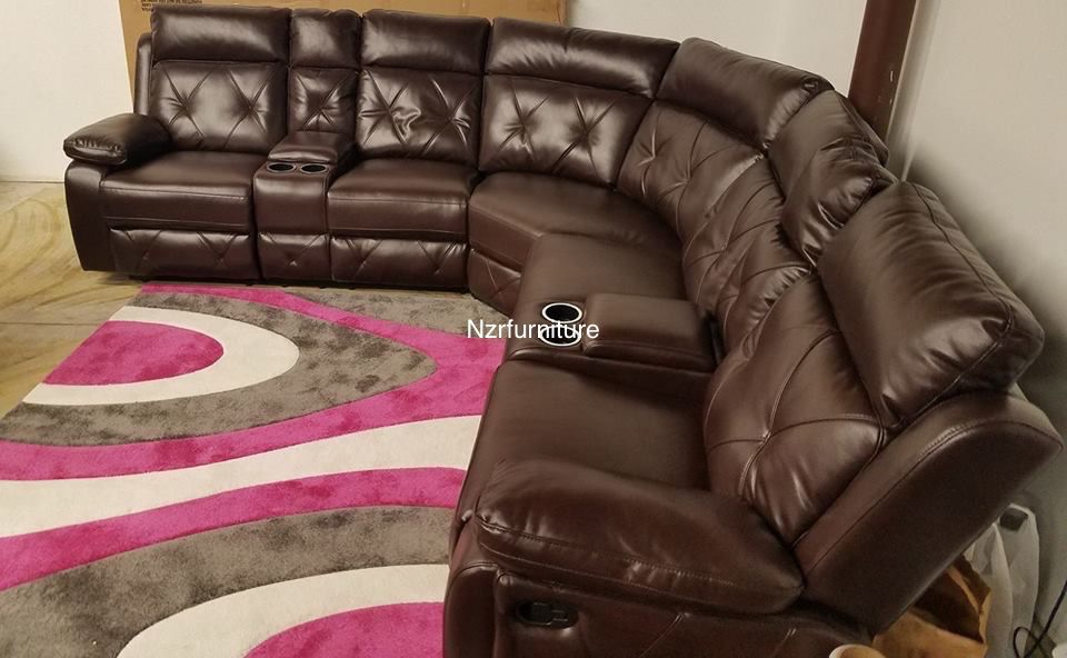 Super Sale !! Brown Living Room Recliner Sectional