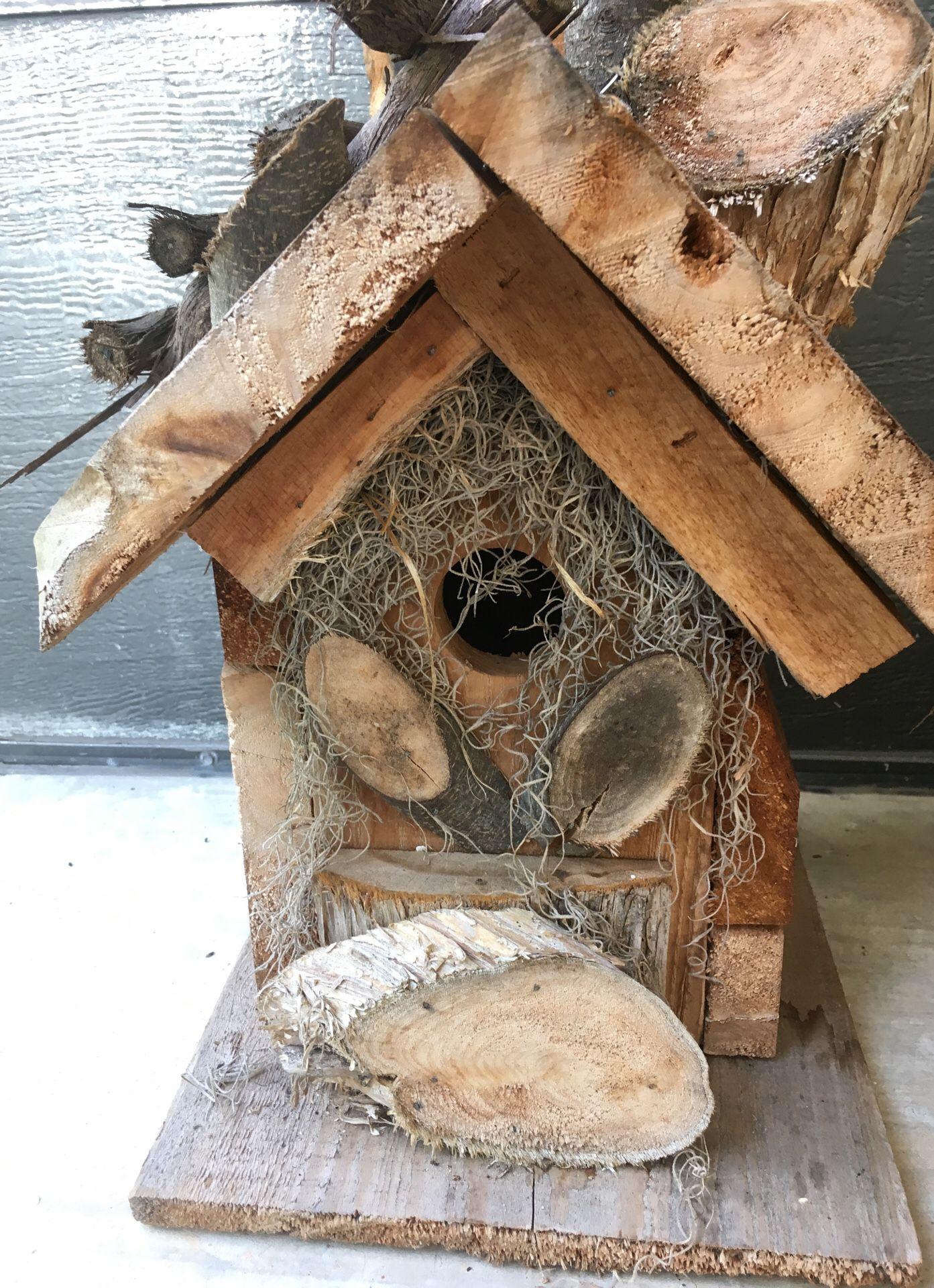 Cute handmade cedar birdhouse