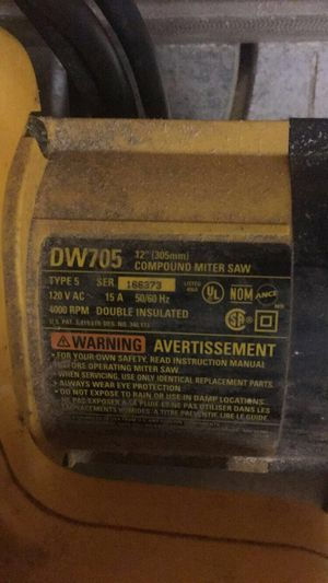D705 12 in Compound mitter saw/ OBF for Sale in Indianapolis, IN