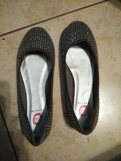 Gray Studed Flats (ladies size 9) Thumbnail