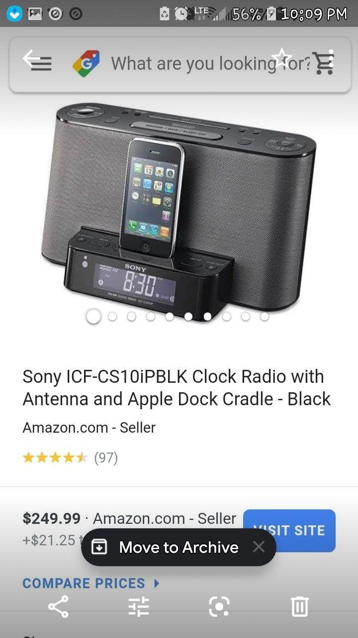 Sony dock station, AM FM radio, alarm clock, Bluetooth speakers