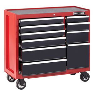 Photo Craftsman 41 10-Drawer Heavy-Duty Rolling Cart - Red