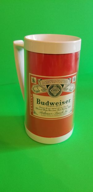 Photo Vintage Budweiser Thermo Serv Beer Stein Red Label Insulated Plastic Pint Mug