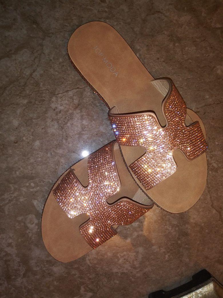 Gold☀Rhinestone💎 Sandals