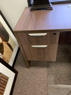 Modern walnut L-shape office Desk Thumbnail
