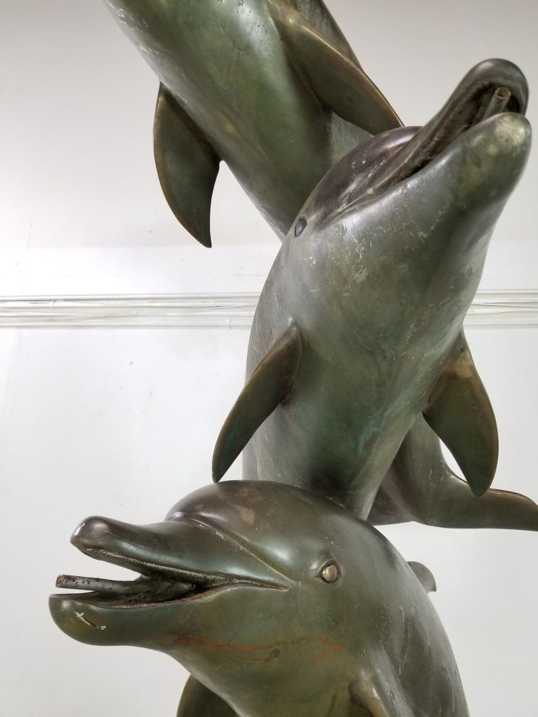 monumental bronze Dolphins water fountain