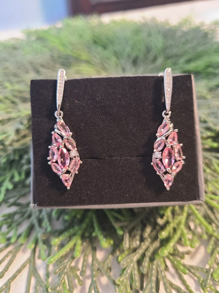 Beautiful created pink amethyst silver filled earrings