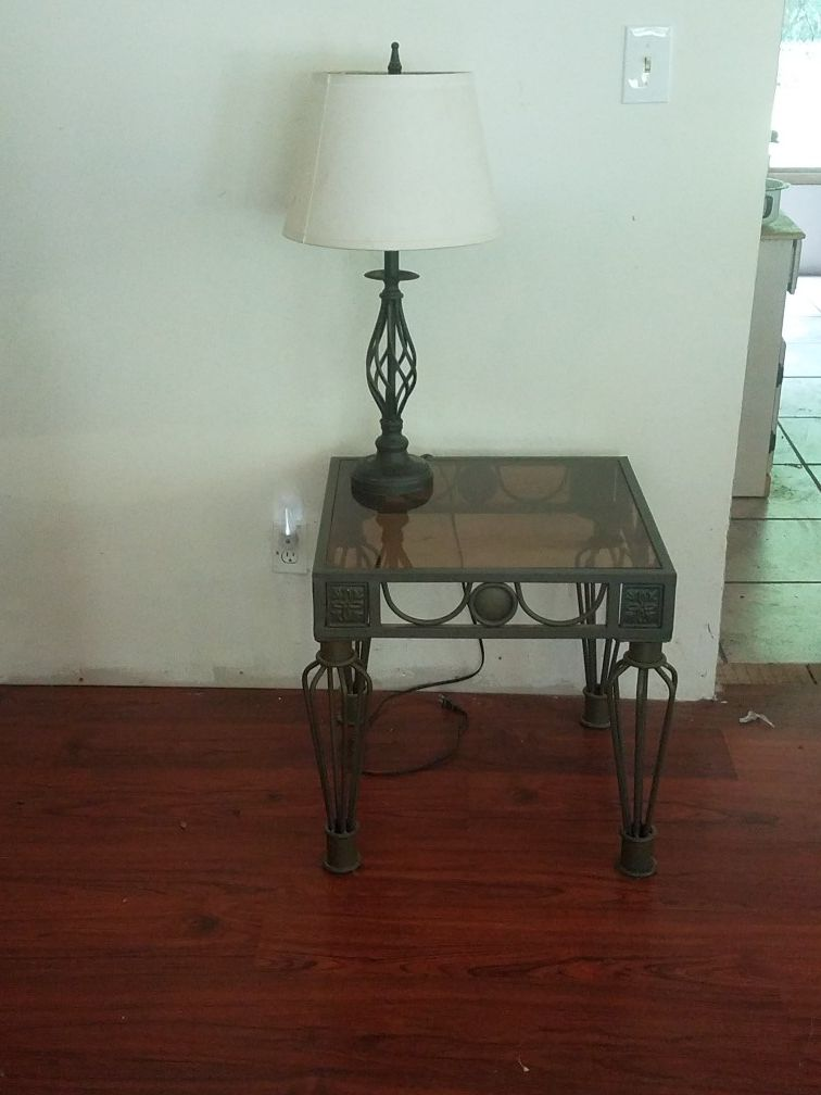 glass top iron base side table with matching lamp