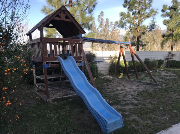 Wooden Swing Set Clubhouse Playground Fort Slide Needs Paint