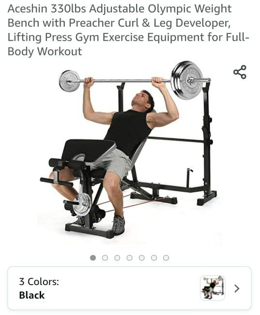ACESHIN 330LBS ADJUSTABLE OLYMPIC WEIGHT BENCH - IN BOX (NEVER USED)