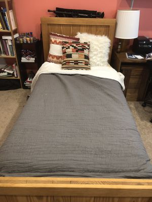 California Long Twin Bed Frame + Mattress for Sale in Herndon, VA