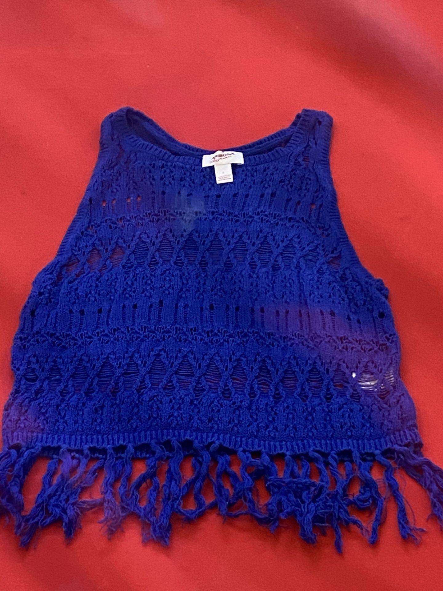 Royal Blue knit tank top with fringe bottom