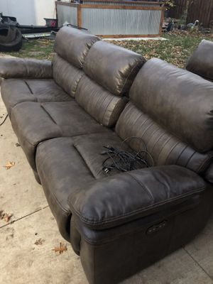 Leather couch, sofa , and recliner , all end pieces recline has usb charging for Sale in Parma Heights, OH