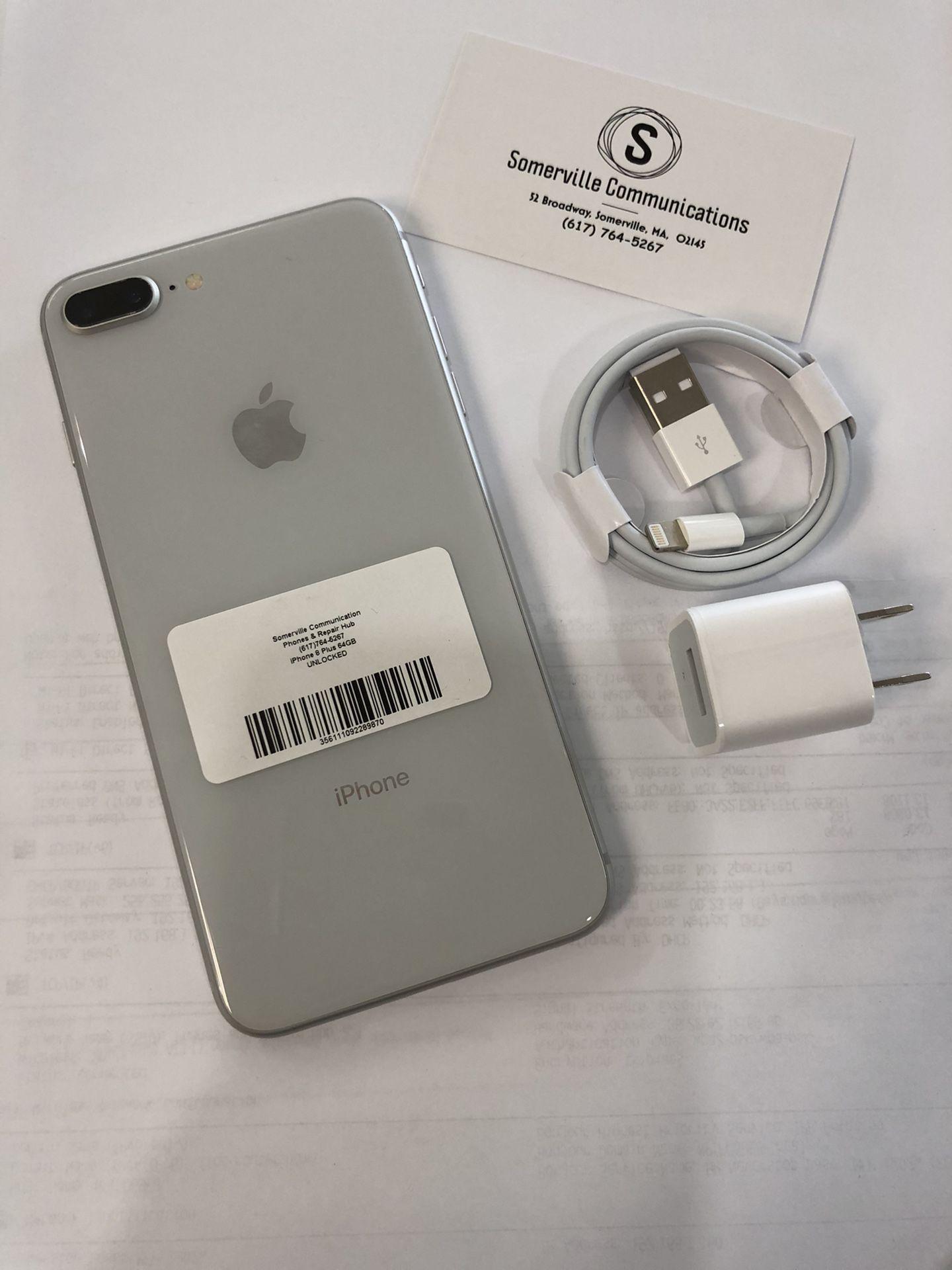 Factory unlocked iPhone 8plus 64gb, store warranty