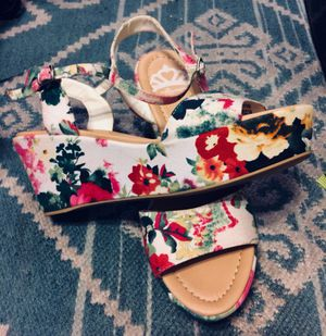 993321c2b24 Label Sheila white floral size 8 1 2 wedges never worn regular price  50 for