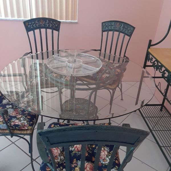 Wrought iron dining table with glass top Deerfield beach for Sale in ...