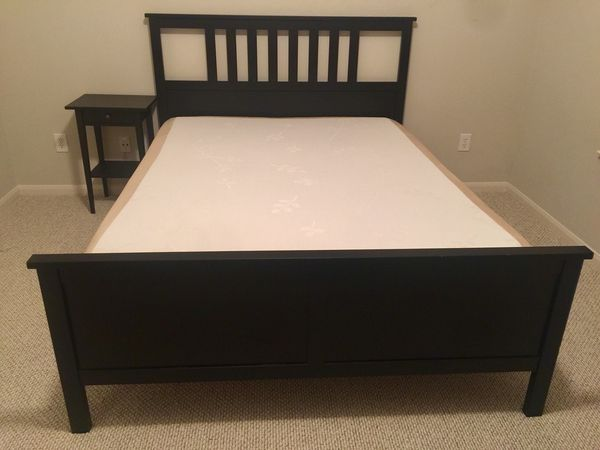 Ikea Solid Wood Bed Set Including Night Stand And Memory Foam Mattress Firm Queen Size Less Than 2 Years Old Excellent Condition Furniture In