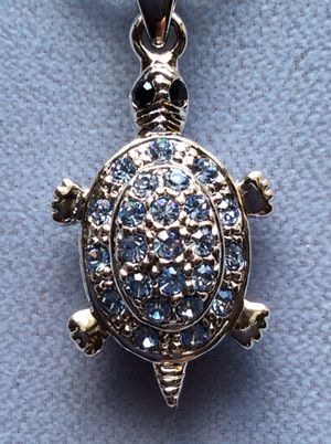 Photo Blue Crystal Turtle On Snake Chain *Pickup Boca Raton Or Ship Nationwide