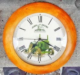 "John Deere moline Illinois green tractor 11"" D quartz wall clock with new AA battery! Thumbnail"