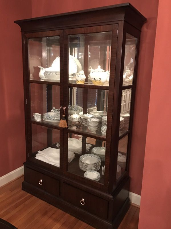 ETHAN ALLEN Lighted Curio China Cabinet Brighton Modern Glamour For Sale In Durham NC