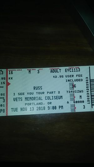 2 Russ Tickets NOV.13 plus parking spot paid for for Sale in Beaverton, OR