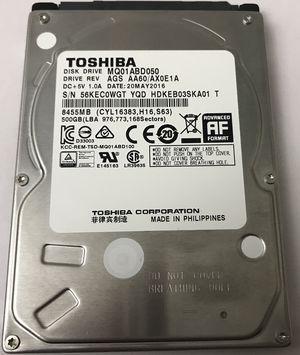 Toshiba 500GB 2.5 Inch HDD 5400 RPM Model MQ01ABD050 AGS AA60/AX0E1A SATA 8 MB Cache for Sale in Chicago, IL