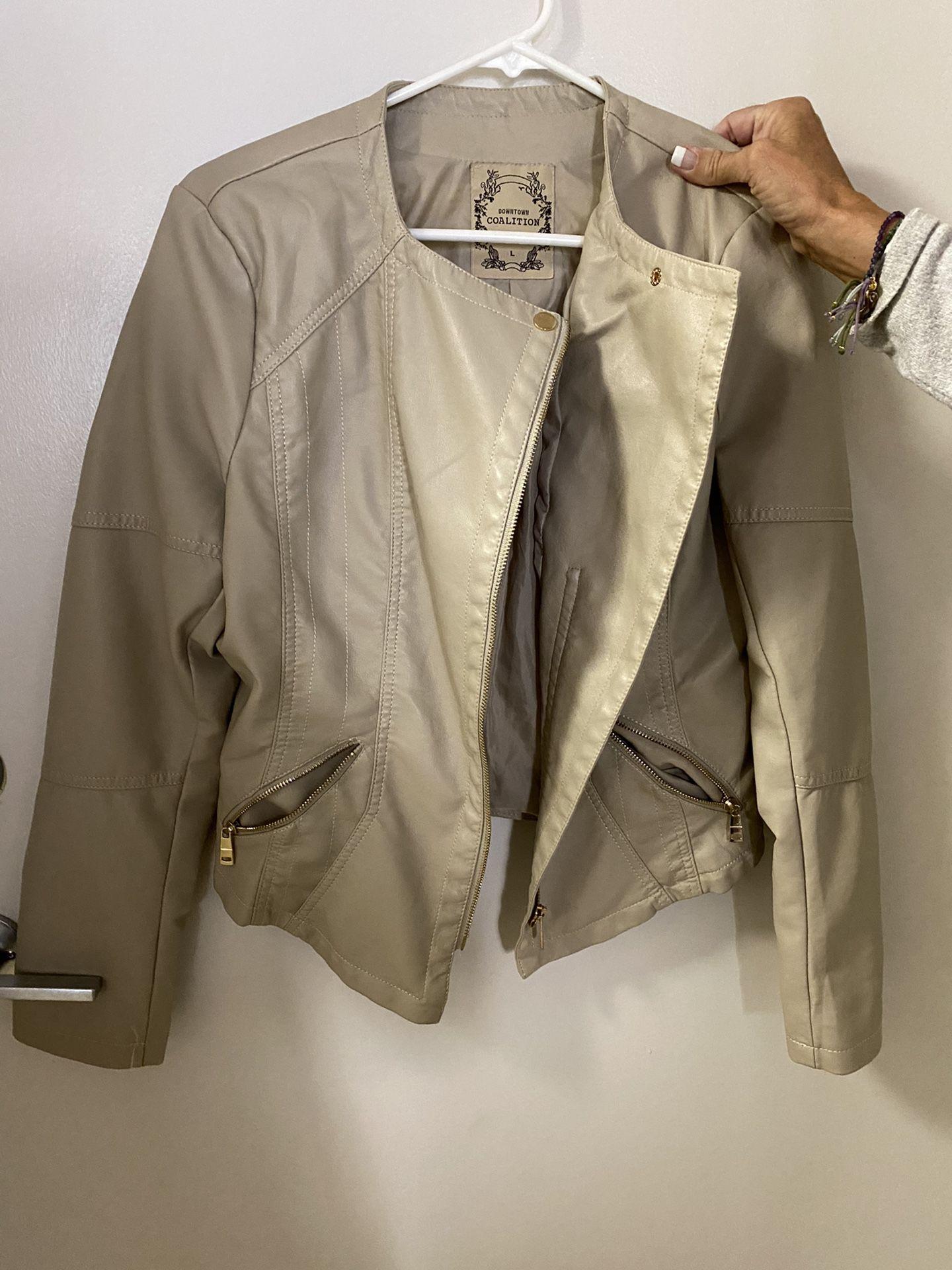 Beige Moto Jacket Large