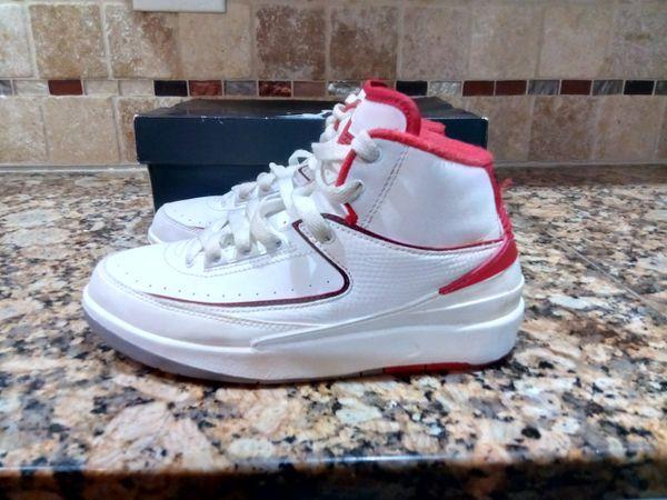 timeless design bea2d cf25c Nike Air Jordan 2 II Retro BG GS SZ 5Y White Varsity Red OG 395718-102